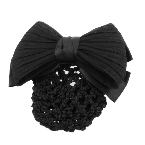 uxcell® Woman Black Ruched Bowknot Bow Snood Net Bun Cover Barrette French Hair Clip