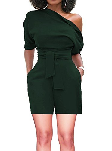 ThusFar Women Sexy Party One Shoulder Wide Leg Short Jumpsuits and Romper with Belt Army Green S