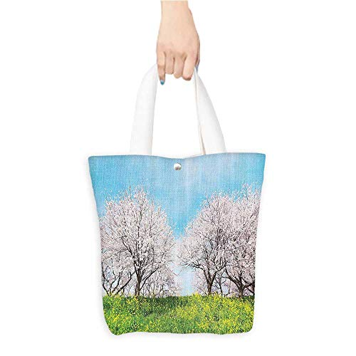 Canvas Tote Bag Japanese Spring ery with Grass Wildflowers Cherry Trees Pink Blossoms Panorama Perfect for Shopping, Laptop W11 x H11 x D3 INCH