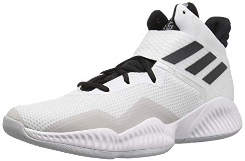 adidas Men's Explosive Bounce 2018 Basketball Shoe, White/Black/Light Solid Grey, 9.5 M US