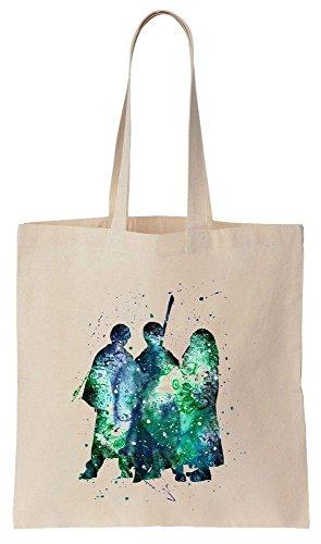 Three Friends Wizards Aqua Color Painting Sacchetto di cotone tela di canapa