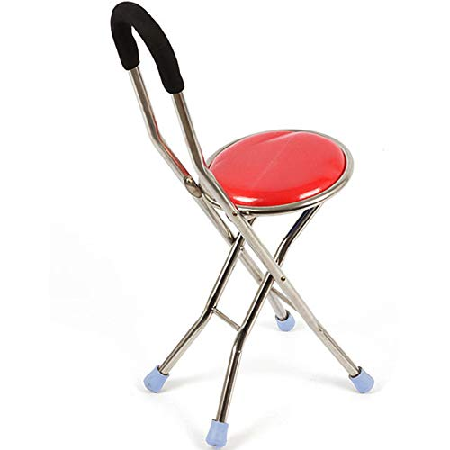 - Crutch - Walker, Elderly Walking Stick, Folding Cane Four-Legged Cane Chair Stool @ (Color : A)