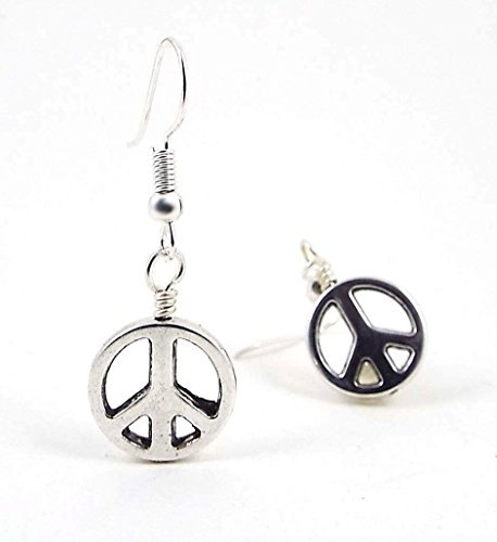 Peace Sign Metal Dangle Charm Earrings Silver Toned