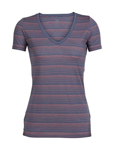 Icebreaker Merino Women's Tech Lite Short Sleeve V Neck T-Shirt, Gumtree/Tulip/Stripe, Small