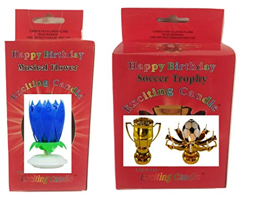 Happy Birthday Cake Candle Decoration (Pink and Blue Variations) - Two Pack (Blue Soccer) by Birthday Candle