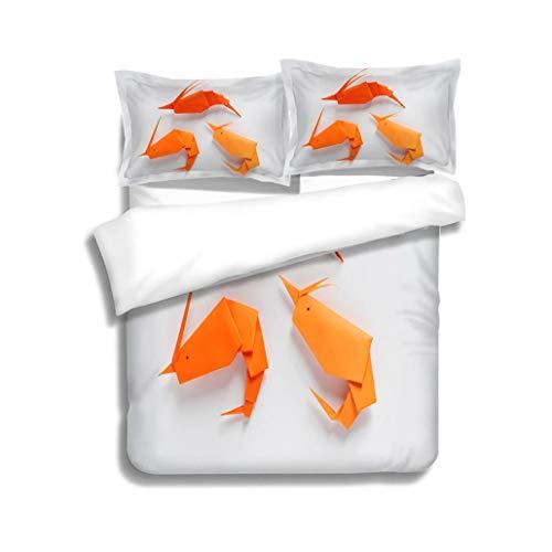 MTSJTliangwan Family Bed Origami Shrimp 3 Piece Bedding Set with Pillow Shams, Queen/Full, Dark Orange White Teal Coral