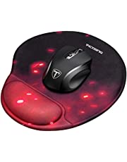 VicTsing Gaming Mouse Mat Silicone Wrist Support Mouse Pad (250x225x20mm) Non-Slip PU Base Smooth Covering, Ergonomic Design, Wrist Rest Pad Suitable for Games, Office Working - Black and Red