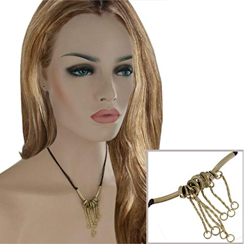 Gold Tone Fringe Rhinestone Brown Cord Necklace Adjustable Festival Jewelry Necklace For Women
