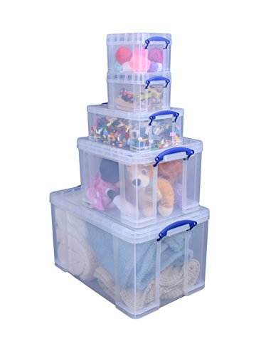 Really Useful 84 + 35 + 9 + 2 x 3 Litre Storage Box, Clear, Starter Pack