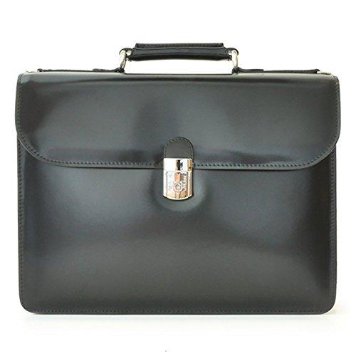 Pratesi Italian Leather Verrocchio Triple Compartment Leather Briefcase, Black