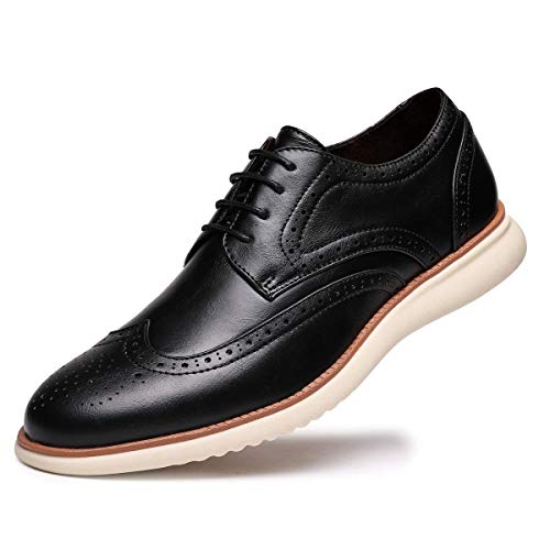 Men's Dress Shoes Leather Oxfords Lace Up Walk Wingtip Oxford for Men Black US 10 ()