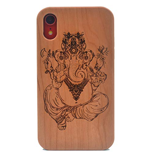 iPhone XR Wood Case, Ganesh Ganpati Elephant Hindu God Handmade Carving Real Wood Case Wooden Case Cover with Soft TPU Back for Apple iPhone XR 6.1 Inch - Carving Ganesh