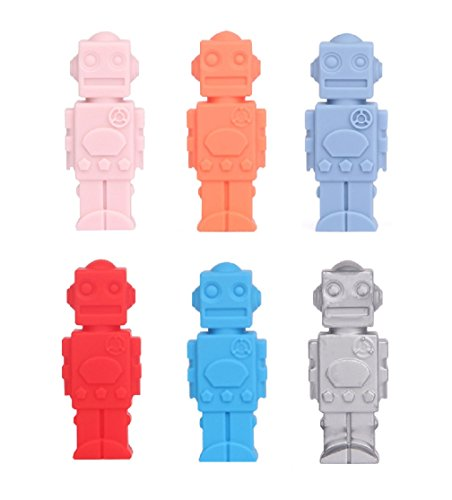 Robot Pencil Toppers (Silicone Chewable Pencil Toppers 6 Pack - FDA-approved Safe Robot Shaped - Perfect for Baby Teething, Children's Pencil Toppers Decoration, Therapy Toys, Chewy Tubes, Fidgets, Oral Motor Chew)