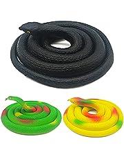 PHIEZC Rubberen slangen, 3 stuks realistische rubberen slangen, slangen, speelgoed, geschikt voor grap, tuinrekwisieten, vogelverschrikking, slapen, Halloween-feesten