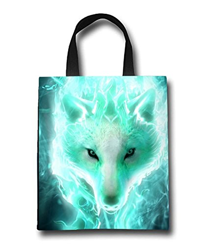 White Wolf Beach Tote Bag - Toy Tote Bag - Large Lightweight Market, Grocery & Picnic by Linhong