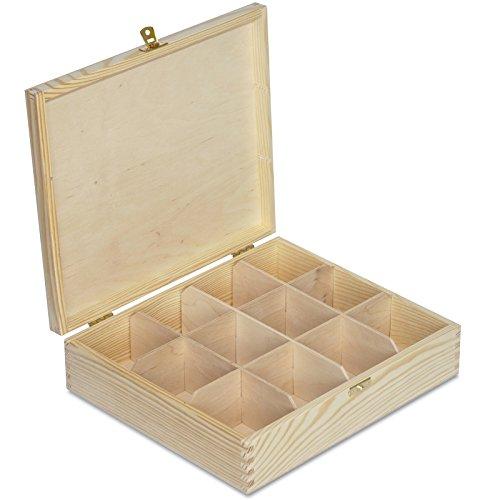 Creative Deco Grande Caja para Te Bolsita Madera | 12 Compartimentos | 29 x 25 x 7,5 cm | Varias Medidas Disponibles | con Tapa y Cerradura | Ideal para Decoupage, Decoracion y Almacenaje
