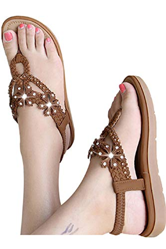 f49f7f4690544 Fainosmny Summer Womens Shoes Fashion Bohemian Sandals Sexy Rhinestone  Flats Beach Shoes Casual Clip-Toe Weaving Sandals Brown