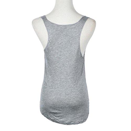 Ouneed Moda verano mujer sin mangas de cuello en v chaleco de caramelo Tops tanque flojo camiseta Gris