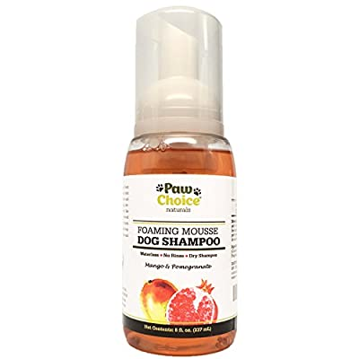 Dry Dog Shampoo, Waterless, No Rinse Foam Mousse - Best for Bathless Cleaning of Coat and Removing Pet Odor - Mango & Pomegranate Scent, Natural with No Harsh Detergents, Made in USA, 100% Guaranteed from Paw Choice