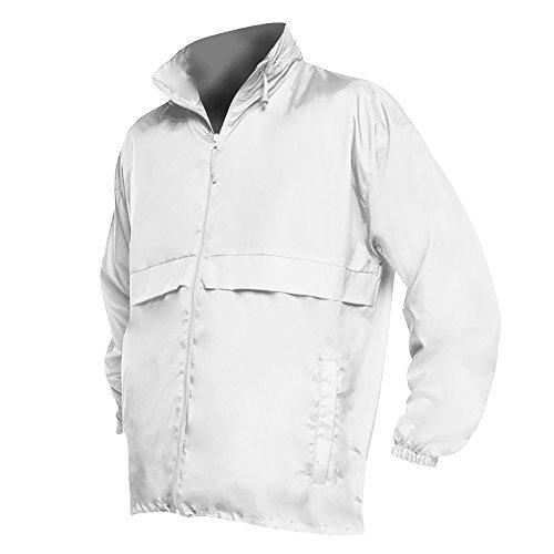 """White Eyelet Jacket (SOLS Unisex Surf Windbreaker Lightweight Jacket (XXL (45-47"""" Chest)) (White))"""