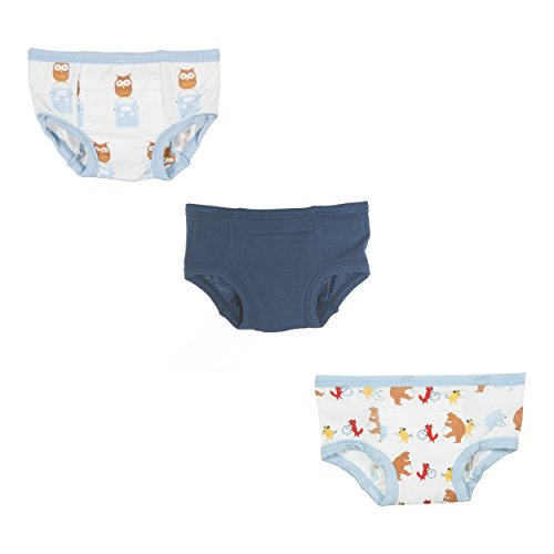 KicKee Pants Bamboo • Toddler Potty Training Pants • Boy/Girl • 3 Pack (2T/3T, Owl - Solid - Parade)