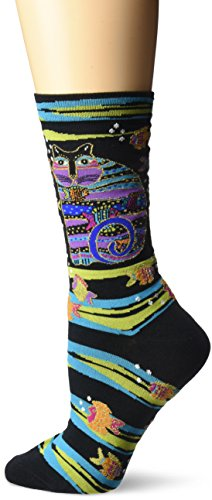 laurel-burch-womens-crew-socks-cat-fish-black-9-11