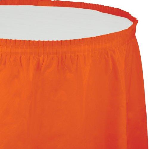 Creative Converting Plastic Table Skirt, 14-Feet, Sunkissed Orange