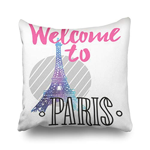 iDecorDesign Throw Pillow Covers Pink Welcome Paris for sale  Delivered anywhere in Canada