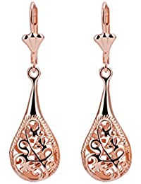 Women Earrings Retro Hollow Filigree Teardrop 18k Rose Gold Plated Charm Dangle Earrings