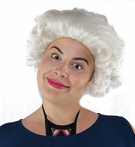 Deluxe British Queen Elizabeth White Curly Royal Old Lady Costume Wig Queen Elizabeth Ii Wig