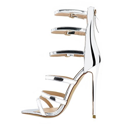 EKS - Zapatos de tacón fino Mujer Plateado - plateado