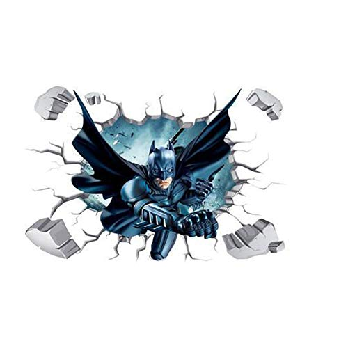 (Fangeplus(TM DIY Removable 3D Batman Broken Wall Hole View Art Mural Vinyl Waterproof Wall Stickers Kids Room Decor Nursery Decal Sticker Wallpaper 35.4''x23.6'')