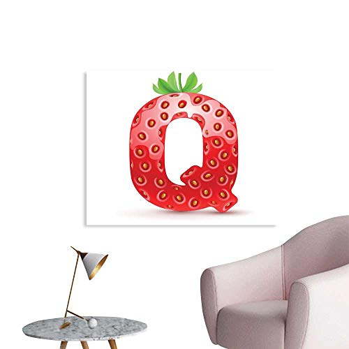 J Chief Sky Letter Q Wall Decoration Exotic Taste Language and Food Theme Delicious Character Words Writing Wallpaper Mural W28 xL20