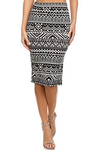 Women's Below the Knee Pencil Skirt for Office Wear - Made in USA ,Black / Light Pink Patterned ,X-Large