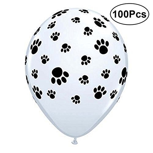 TOYMYTOY 100 Pcs Cute Dog Paw Prints Latex Balloons for Birthday Party Favors Supplies,12 Inch,White by TOYMYTOY