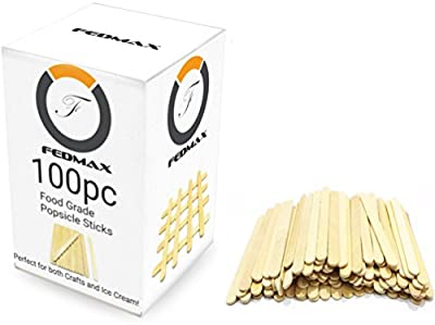 """Popsicle Sticks, Choose Quantity, 4-1/2"""" Length, FDA Approved Food Grade Wooden Ice Cream Sticks, Great Sticks for Crafts, By Fedmax."""