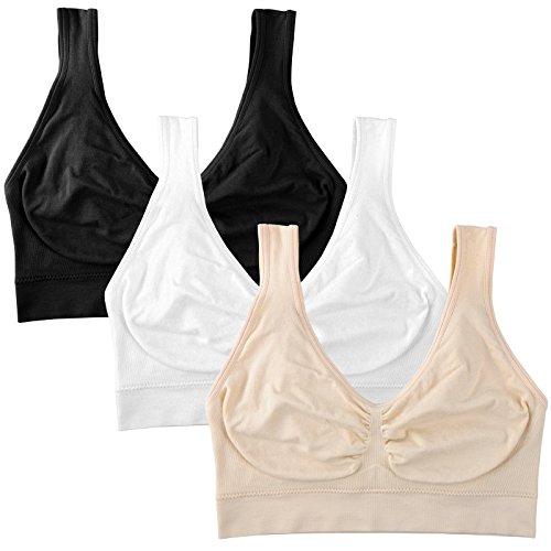 BRLIDO Womens Seamless Wirefree Sports Bra Low Support Sleep Yoga Bras 3Pack