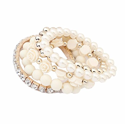 Agate Jewelry Set - Creazy® Facrylic Rose Flower Round Pearl Shining Rhinestone Crystal Elastic Bracelet 1 Set (RC)