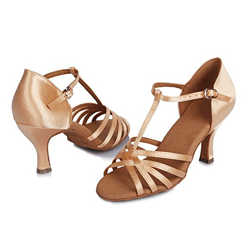 Roymall Women Satin Latin Dance Shoes Ballroom Salsa Tango Performance Schoenen, Model Af403 Beige