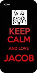 Keep calm and Love Jacob - Black/Red - Hard Black Plastic Snap - On Case-Apple Iphone 4 - 4s - Great Quality!