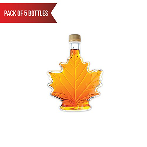 5 Maple Natural (Pure, Organic Canadian Maple Syrup, All-Natural, Grade-A Amber Rich Taste | Delicious Sweetness | No Preservatives, Gluten Free, Vegan Friendly (5 X 50ml bottles))