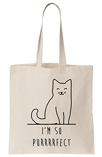 Cat So Tote Bag Purrfect Perfect Canvas Sitting Happy I'm azTU1xwq