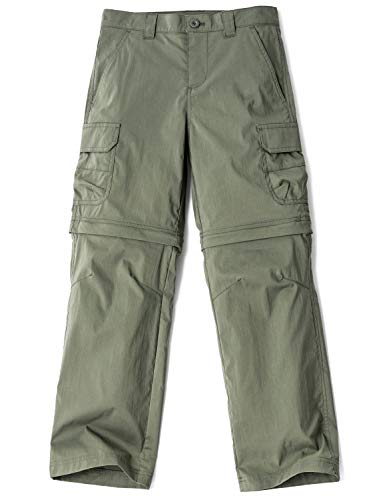 Zip Off Pants Olive - CQR Kids Outdoor Adventure Youth Pants Hiking Camping Stretch Durable UPF 50+ Quick Dry Cargo Trousers, Outdoor(bxp432) - Olive, Medium (10/12)