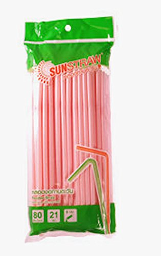 Sun straw Flexible Straw Sweet Pink Color 80 ct/ pack (Pack of 4),Great for Summer Time Drinks Colorful and Fun (Send you happiness) (Pink Root Beer)