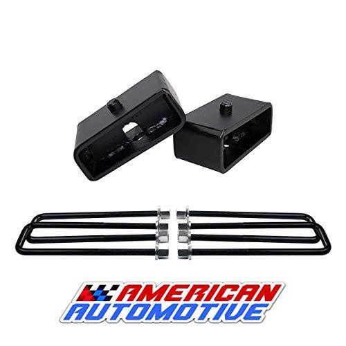 "American Automotive Frontier 2.5"" Rear Suspension Lift Steel Blocks + Ext 10"" U Bolts"