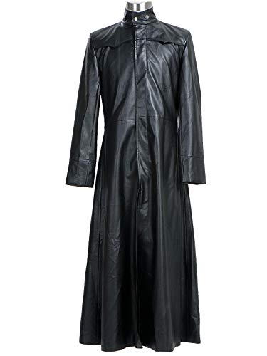 GOTEDDY Men's Neo Cosplay Costume Halloween Black Leather Long Trench Coat Jacket XXL -