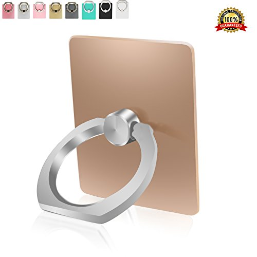 Finger Grip Phone Ring Holder Stand by Sixty Six Cellphone Kickstand for iPhone 7, 7Plus 6/6s, Plus, 5, 5S/C/SE, Samsung Galaxy S8/S8 Plus, S7, Edge, S6, Edge, S5, Note 4, All Tablet - Gold