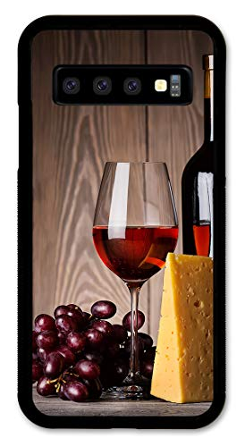 Samsung S10 Case Slim Fit - Hard Shell Plastic - Full Protective Cover for Samsung Galaxy S10 - Glass of Red Wine & Cheese (Phone Case Cheese)