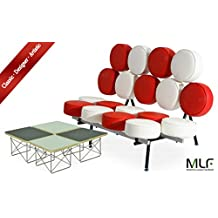 MLF Nelson Marshmallow Sofa + Eames Wire Base Low Table (Sofa: Red & White Italian Leather, Table: 2 Black Plywood + 2 White Plywood)(18 Combinations)