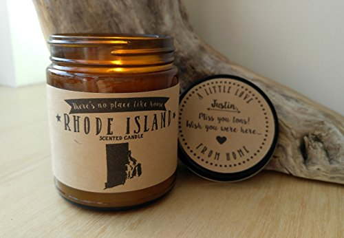 Rhode Island Scented Candle Missing Home Homesick Gift Moving Gift New Home Gift No Place Like Home State Candle Miss You Thinking of You Valentines Day Gift